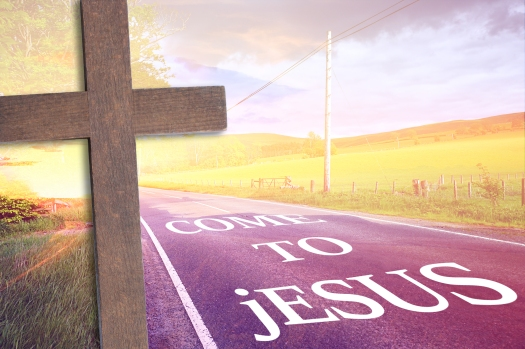 Wooden cross and a road with text 'come to Jesus'