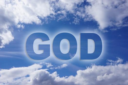God word on nature blue sky background