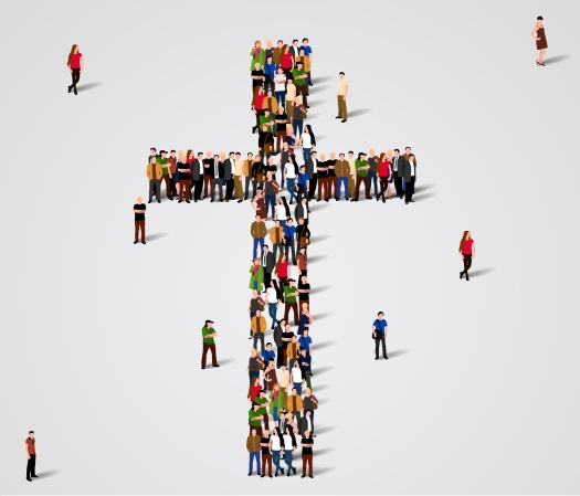 Large group of people in the shape of cross. Vector illustration