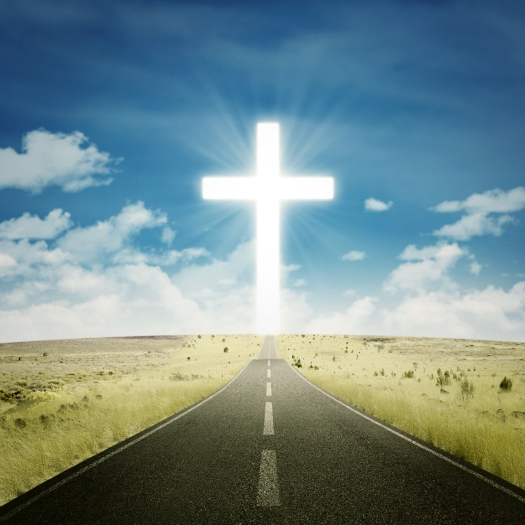 Empty Highway With A Cross