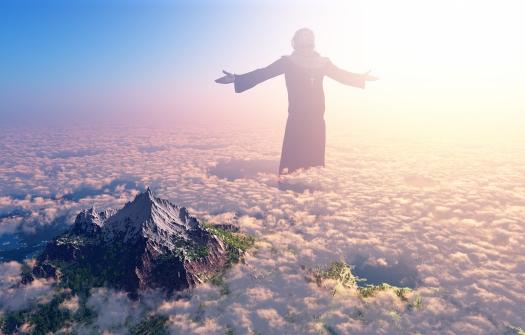 Jesus walking on clouds