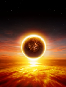 Abstract apocalyptic background - sunset, red sky, exploding planet, end of world