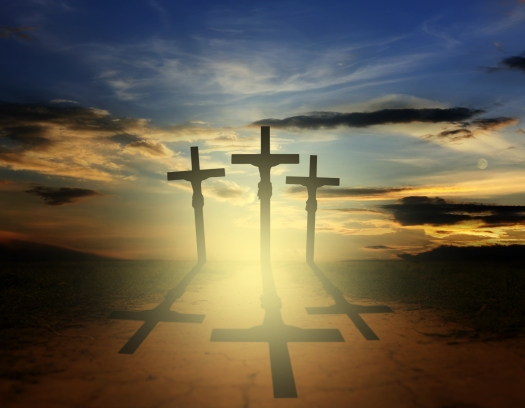Easter three crosses religion concep