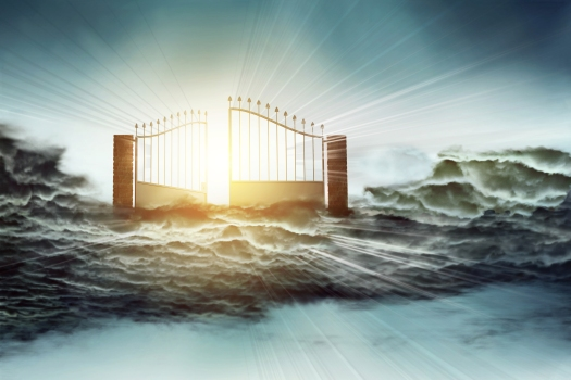 concept of heaven gate to God and Jesus above clouds