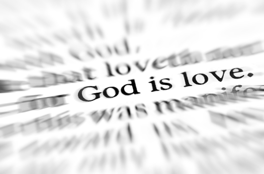 Detail closeup zoom God is love scripture in bible verse