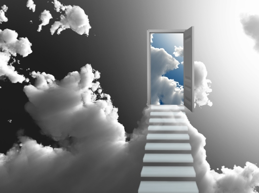 Doorway Sky 3D Rendered