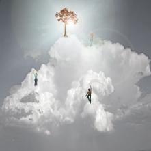 Individuals climb cloud toward light at top