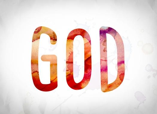 God Concept Watercolor Word Art