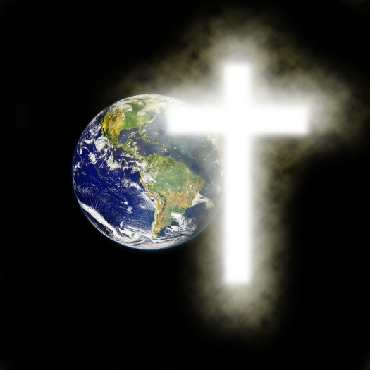 Earth With Religious Cross With Black Background