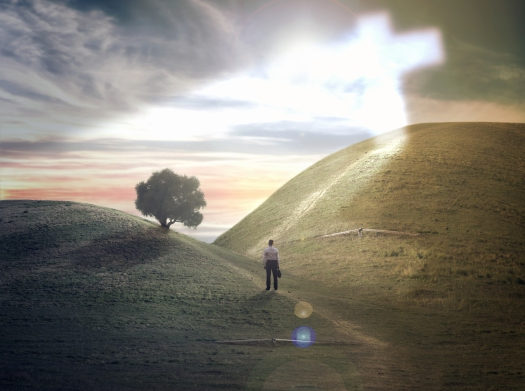 Cross On The Hill And A Man At A Crossroads