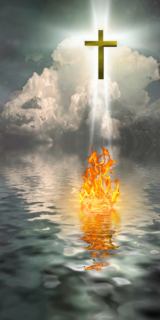 Cross Hangs in Sky over Water with Fire Burning on Waters Surfac