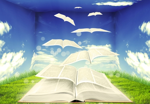 Open book and pages flying into skies