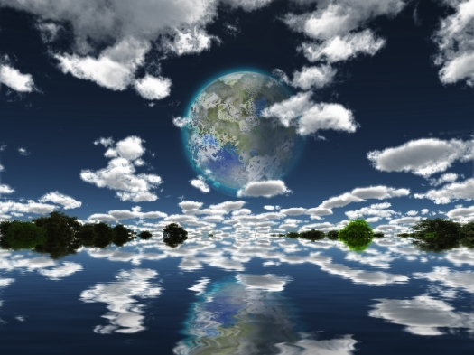 Surreal digital art. Terraformed moon seen from the Earth.  3D r