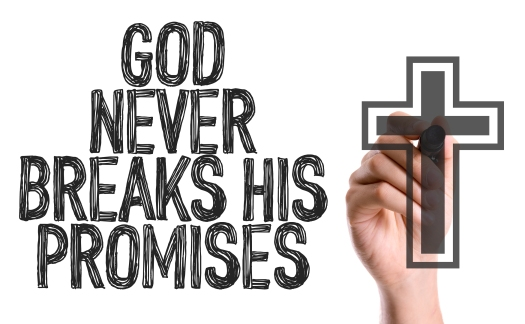Hand with marker writing: God Never Breaks His Promises