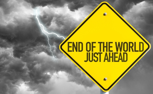 End Of The World - Just Ahead sign with bad day on background