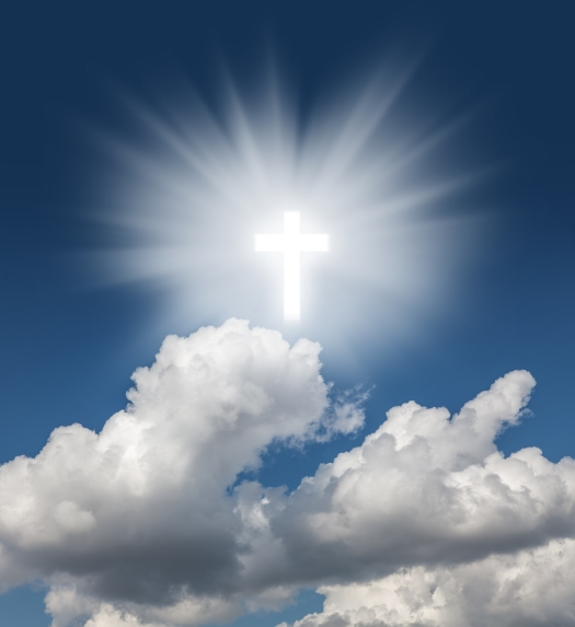 Glowing Holy Cross In The Blue  Sky