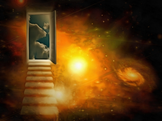 Surreal painting. Open door to another world. 3D rendering