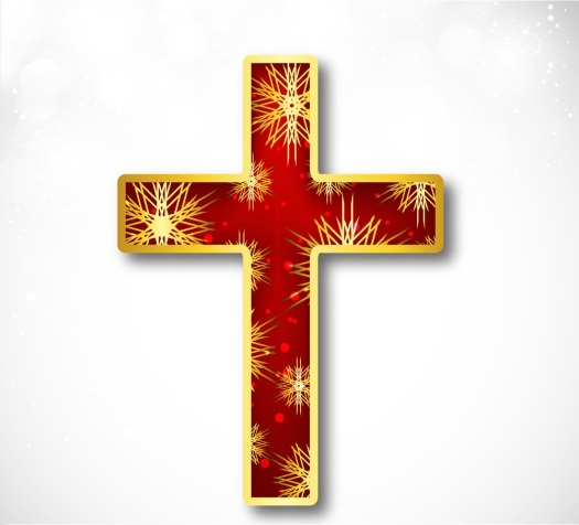 Shiny red and golden Christian Cross on abstract grey background