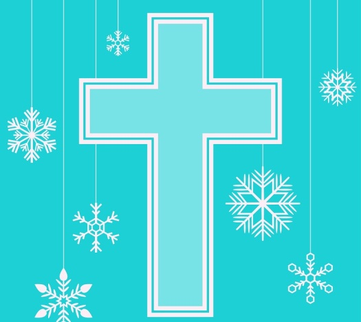 Merry Christmas with cross and snowflakes
