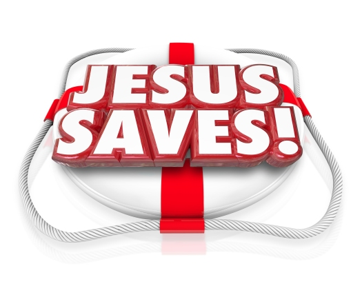 Jesus Saves 3d words in red letters on a life preserver to illus
