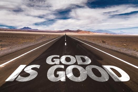 God Is Good written on desert road