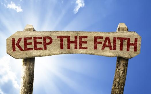 Keep your Faith wooden sign on a summer day