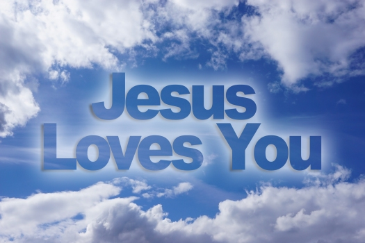 Jesus loves you words on blue sky background