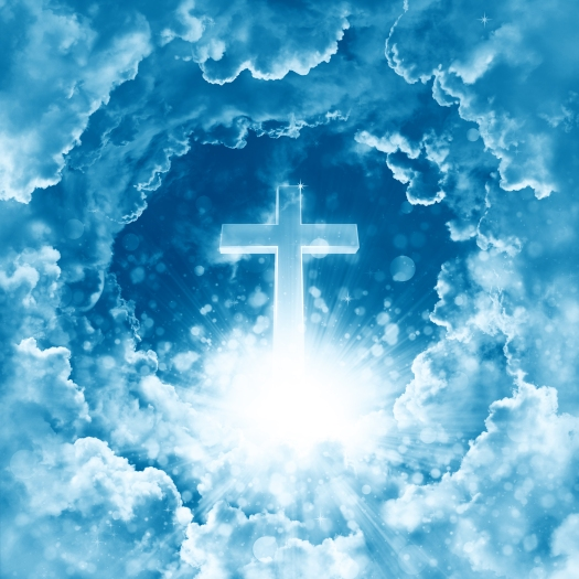 Concept Of Christian Religion Shining Cross On The Background Of