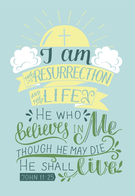Hand Lettering I Am The Resurrection And The Life.biblical Backg