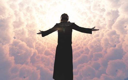 Jesus is in the clouds.3d render