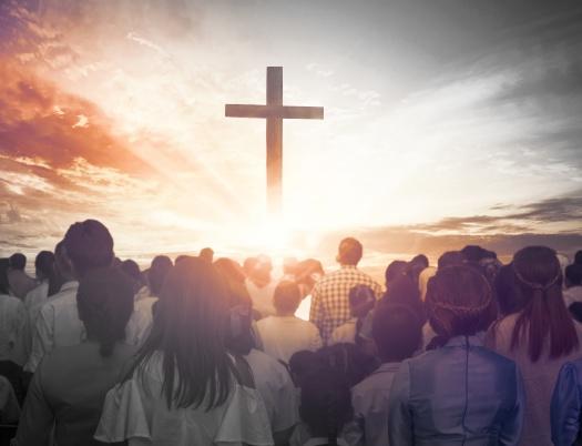 Christmas concept: worship and praise God