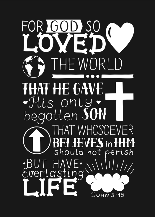 Golden Bible Verse John 3 16 For God So Loved The World, Made Ha