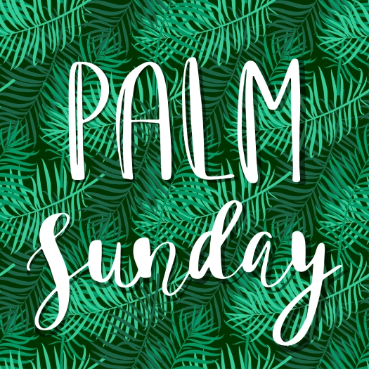 Palm Leafs Vector Seamless Pattern With Text Palm Sunday. Vector