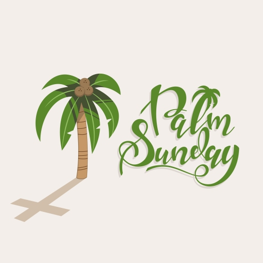 Palm Sunday Handwritten Text With A Tree With Coconuts And A Sha
