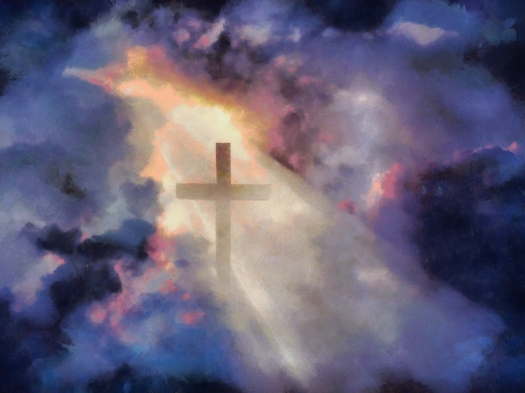 Surrealism. Christian cross in dramatic clouds. 3D rendering