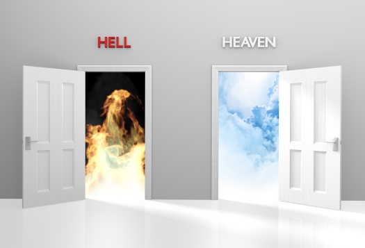 Doors to heaven and hell representing Christian belief and after