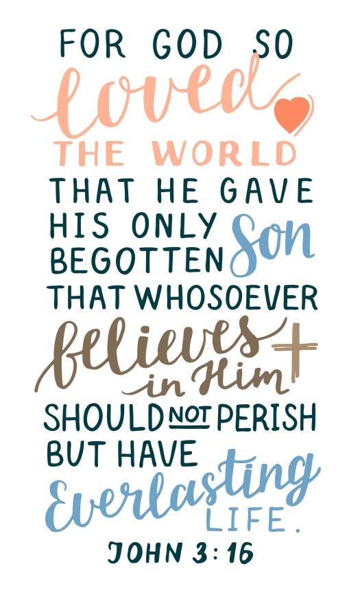 Golden Bible Verse John 3 16 For God So Loved The World, Made Ha