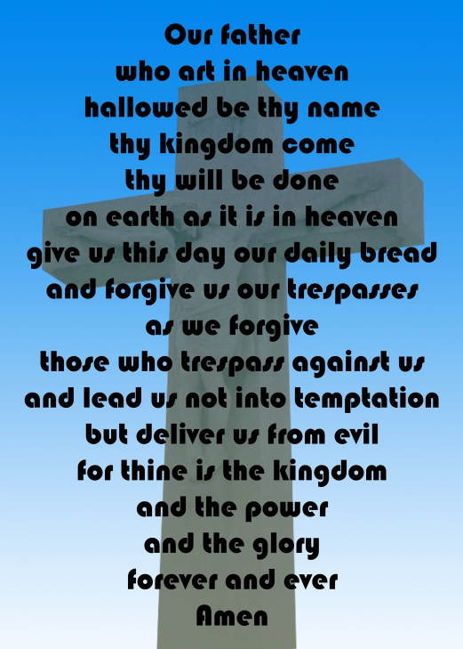 the lord's prayer against a cross on a blue gradient background